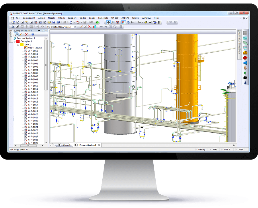 INSPECT permite el modelado de plantas en 3D para los ingenieros de inspección, fiabilidad y equipos a presión