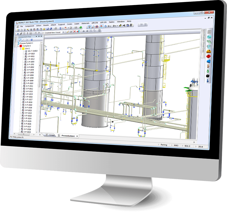 INSPECT features API 579 Fitness-For-Service (FFS), 3D Plant Modeling and Inspection Data Management