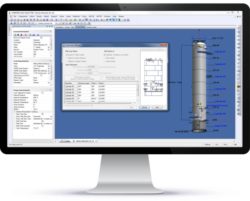 COMPRESS pressure vessel design software includes a Long Seam Wizard to quickly place longitudinal shell seams