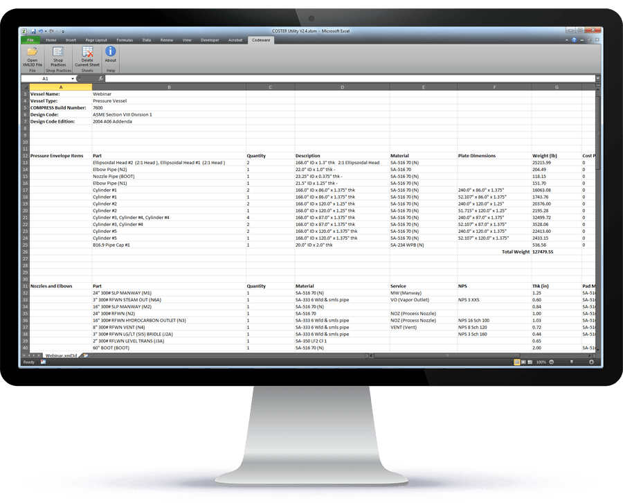 COSTER uses COMPRESS files to create customizable ASME fabrication cost estimates in Excel spreadsheet format.