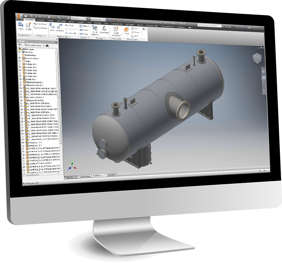 A COMPRESS designed, ASME compliant pressure vessel exported to Inventor