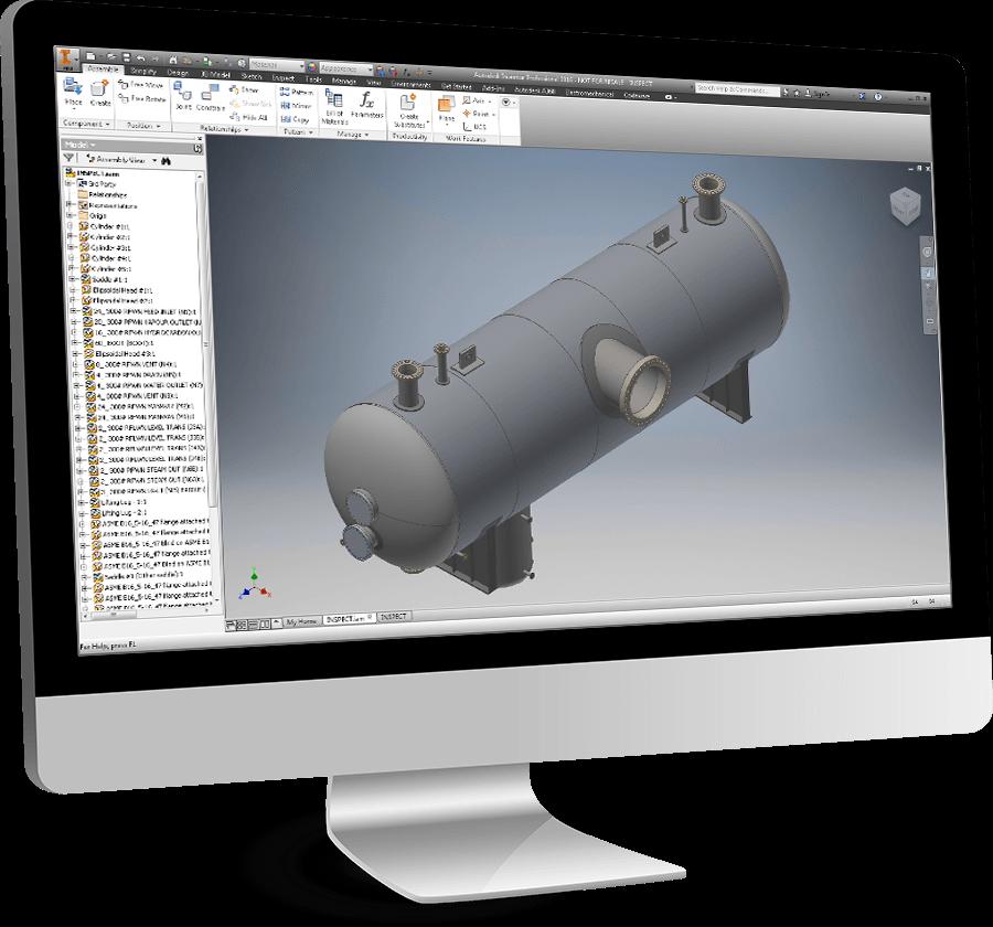 A COMPRESS designed, ASME compliant pressure vessel exported to Inventor