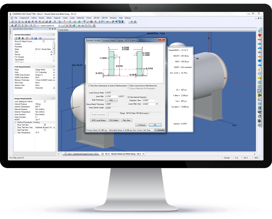 COMPRESS pressure vessel software provides interactive guidance while performing ASME calculations