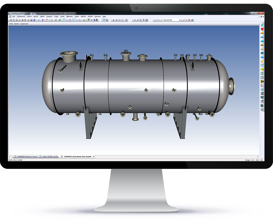 The 3D solid model view of a desalter in COMPRESS. From here you can check for interferences and export the solid model to other pressure vessel design programs.