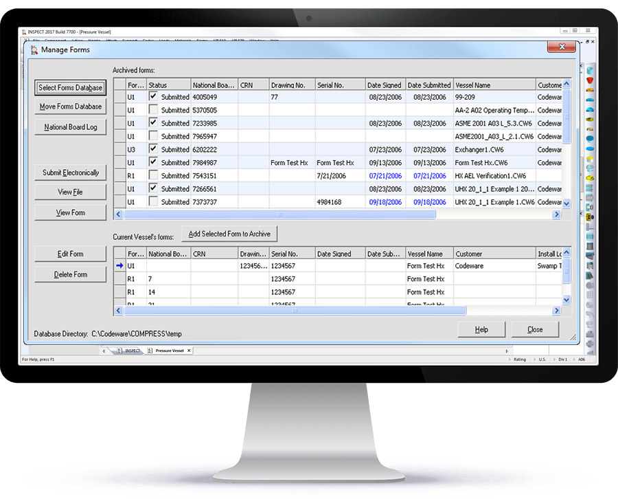 COMPRESS pressure vessel design software manages ASME U and R forms