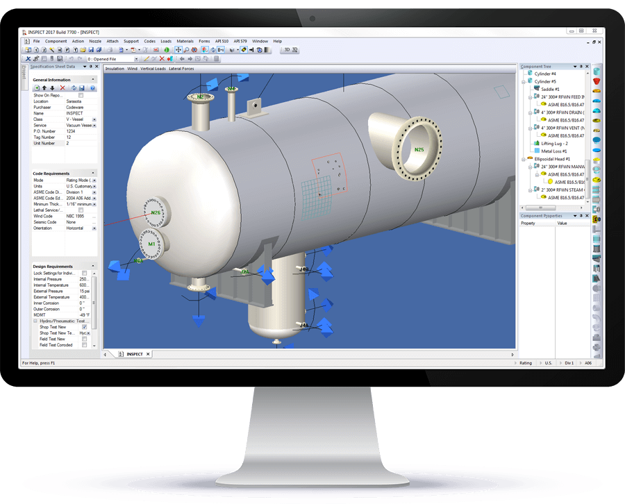 INSPECT shows API 579-1 flaw combinations on fixed equipment in 3D