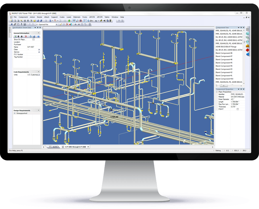 An ASME B31.3/API 570 piping system imported into INSPECT from AutoCAD® Plant 3D