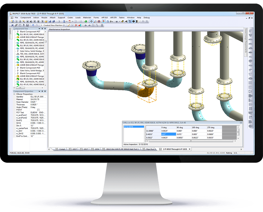 INSPECT Shows API 570 CMLs on Piping in 3D