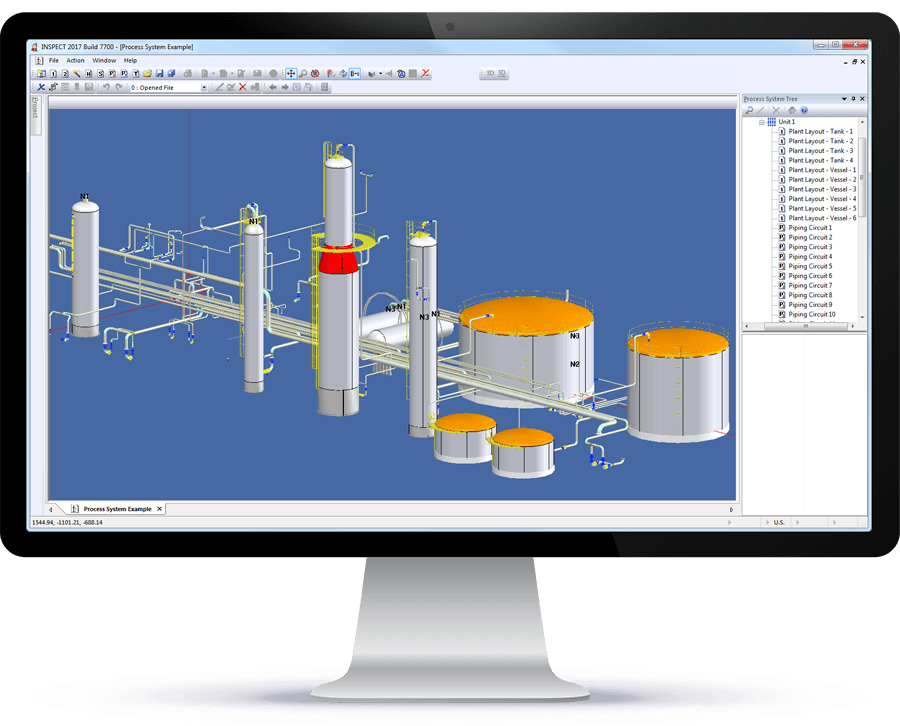 3D pressure equipment layout in INSPECT speeds navigation and data entry