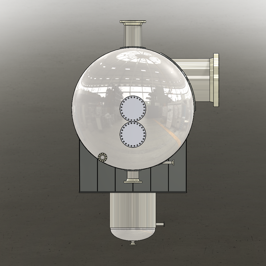 Saddle supported pressure vessel solid model end view