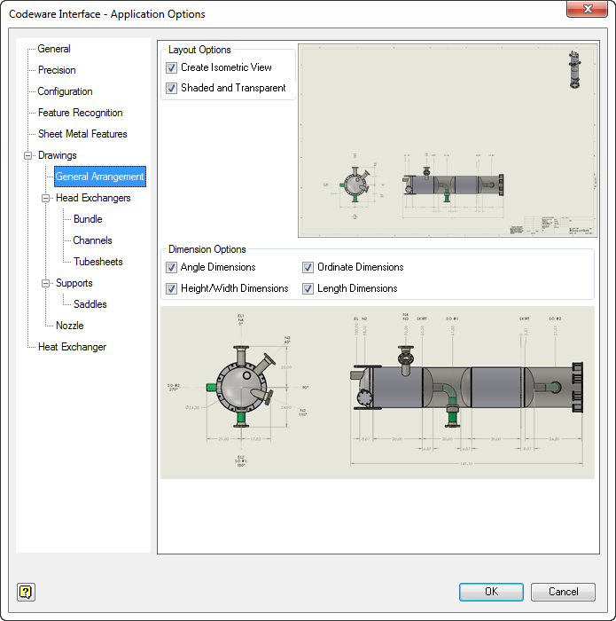General arrangement drawing layout and dimension options can be enabled/disabled through this dialog.