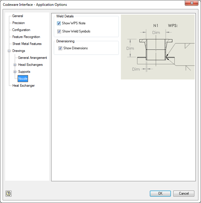 Information like the WPS note, weld symbols, and dimensions can be enabled/disabled.