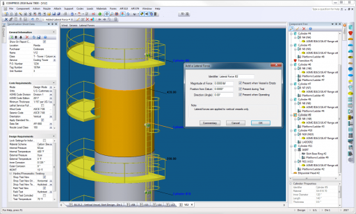 The COMPRESS Loads Menu allows designers to easily include global external loads when sizing pressure vessel supports such as skirts, legs and lugs