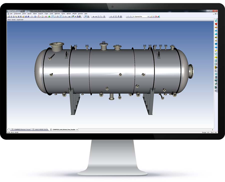The 3D solid model view of a desalter in COMPRESS. From here you can check for interferences and export the solid model to other CAD programs.