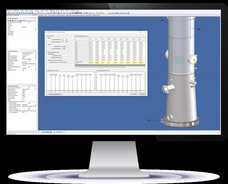INSPECT ofrece gestión de datos de inspección en 3D, cálculos e informes de FFS de API 510 y API 579-1