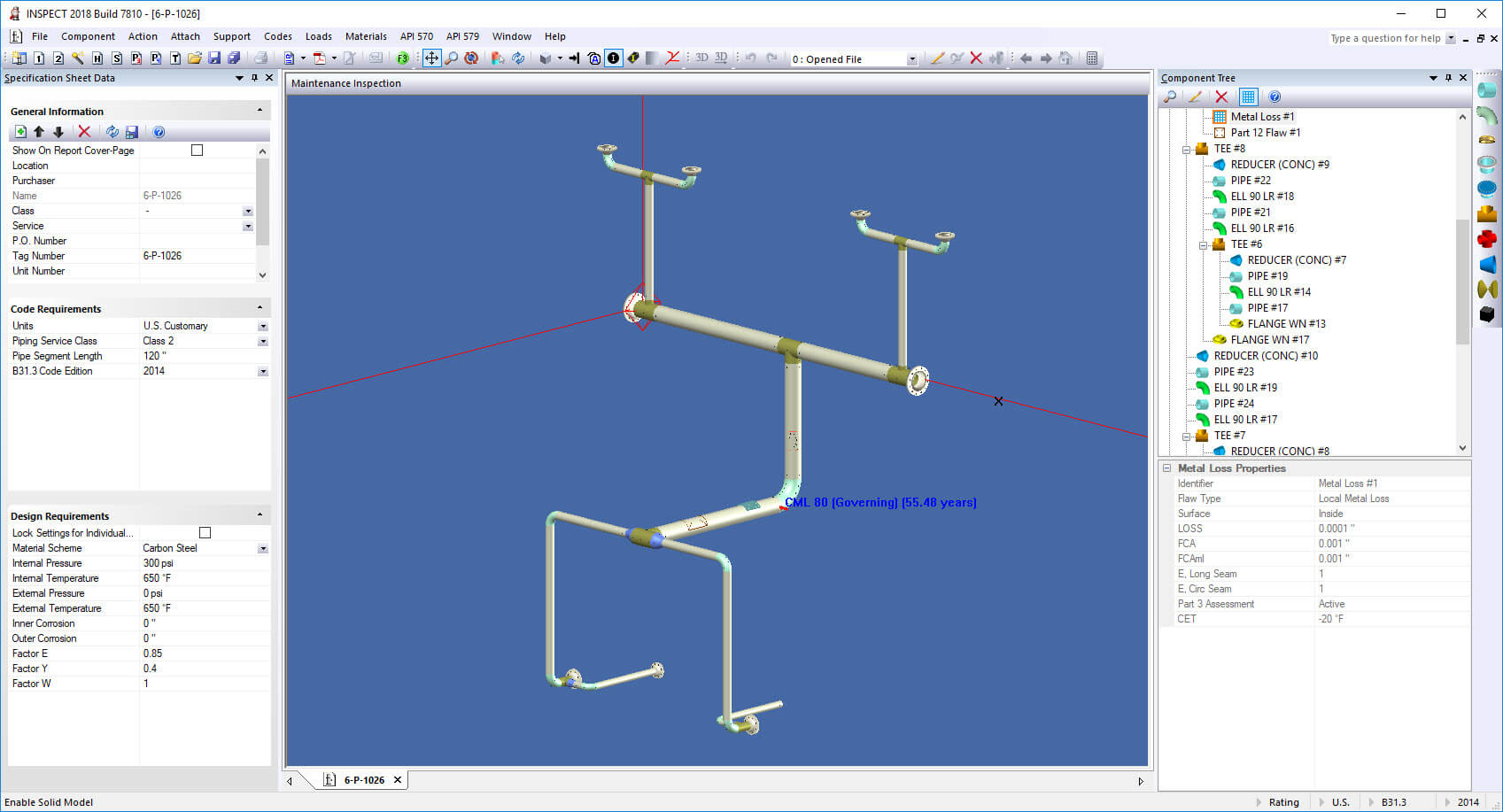 INSPECT Manages API 570 Piping Thickness Surveys in 3D