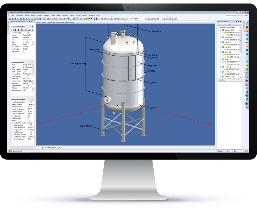 COMPRESS pressure vessel software can design various support configurations including braced legs
