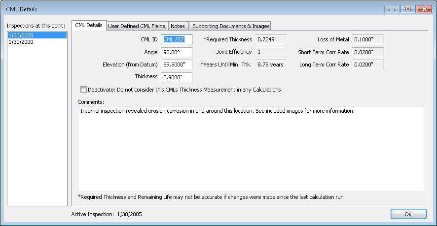 El cuadro de diálogo de detalles de la ubicación de monitorización de condiciones (CML) de INSPECT proporciona una forma sencilla de personalizar su IDMS.