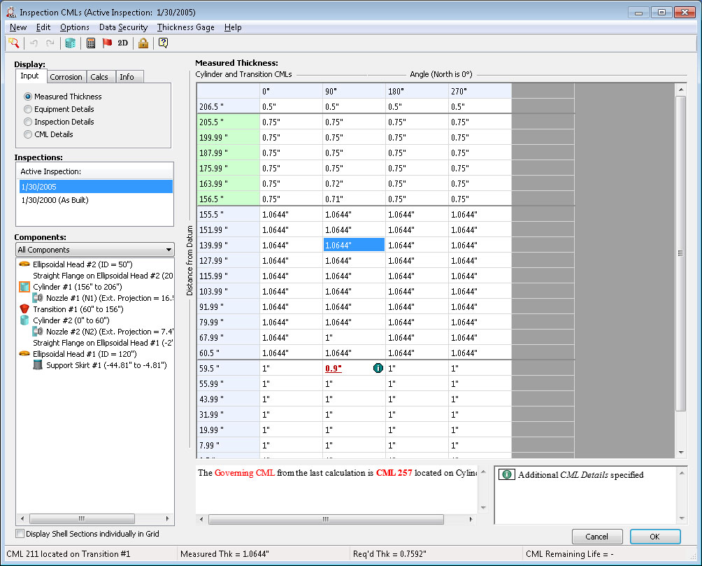 The INSPECT condition monitoring location (CML) dialog provides a convenient CML summary