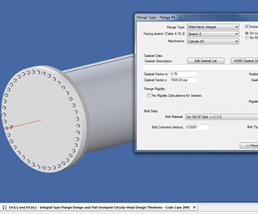 Create optimized Appendix 2 (custom or body) flange designs with the flange wizard in COMPRESS