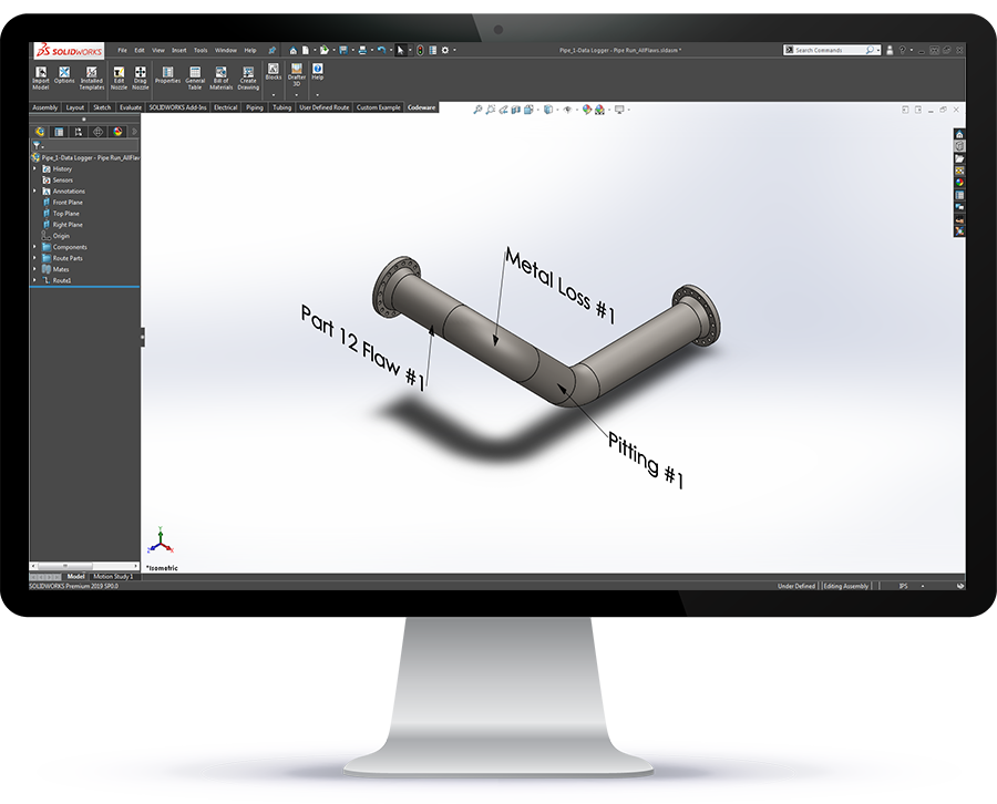 INSPECT 7900 Now Exports Piping With Flaw Locations to SolidWorks