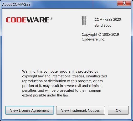 COMPRESS 2020 Build 8000 is current with the 2019 Edition of the ASME BPVC