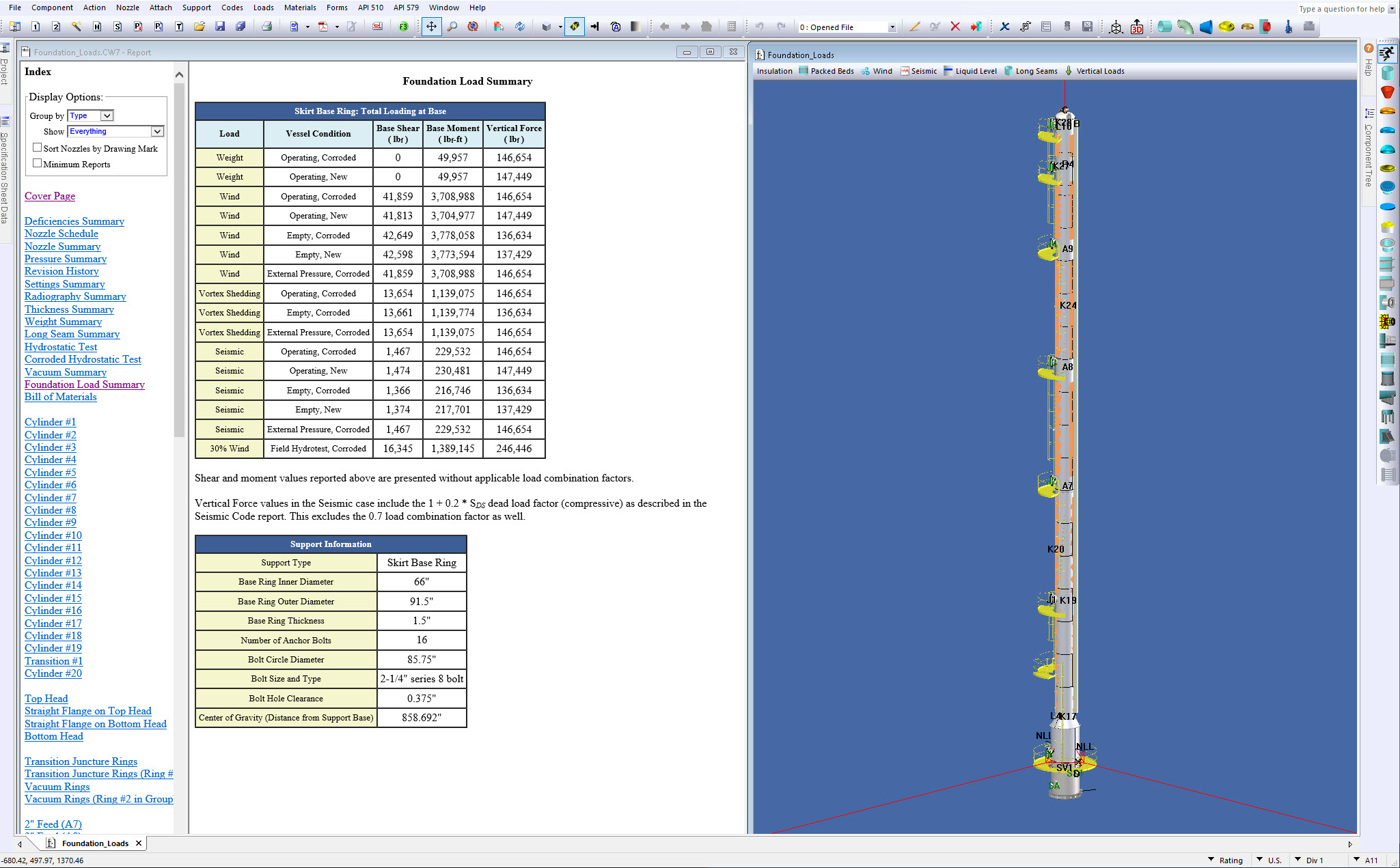 COMPRESS Provides a Convenient Pressure Vessel Foundation Loads Summary Report