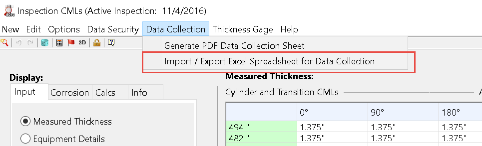 Transferring Thickness Measurement Grids (CML's) To\From Excel