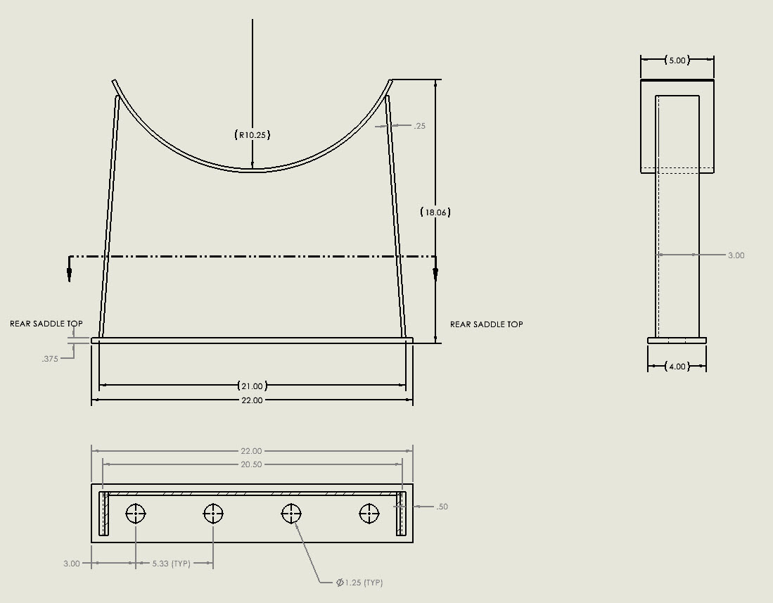 Saddle support detail drawings are generated by the Codeware Interface