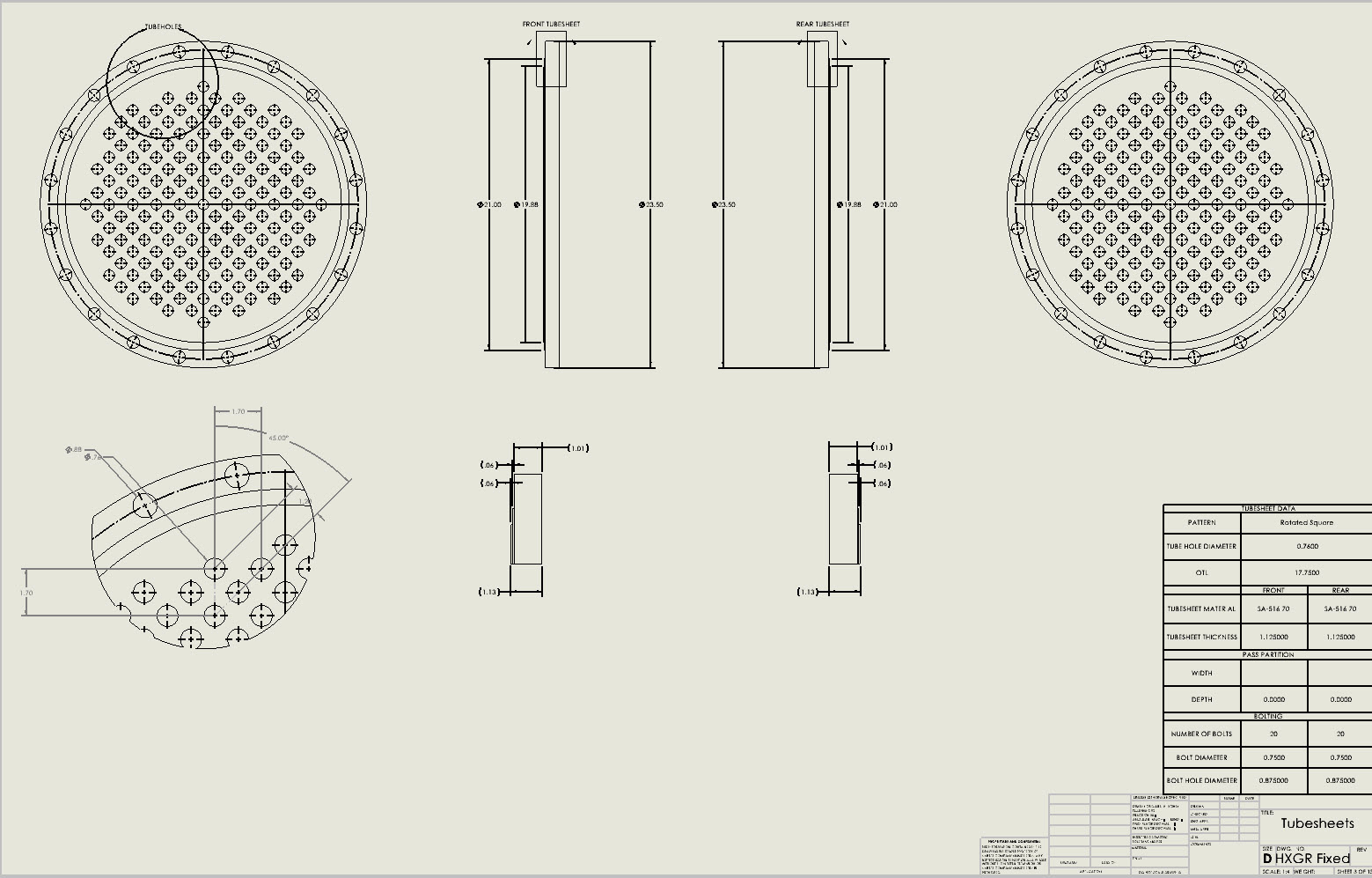 Tube sheet detail drawings are generated by the Codeware Interface