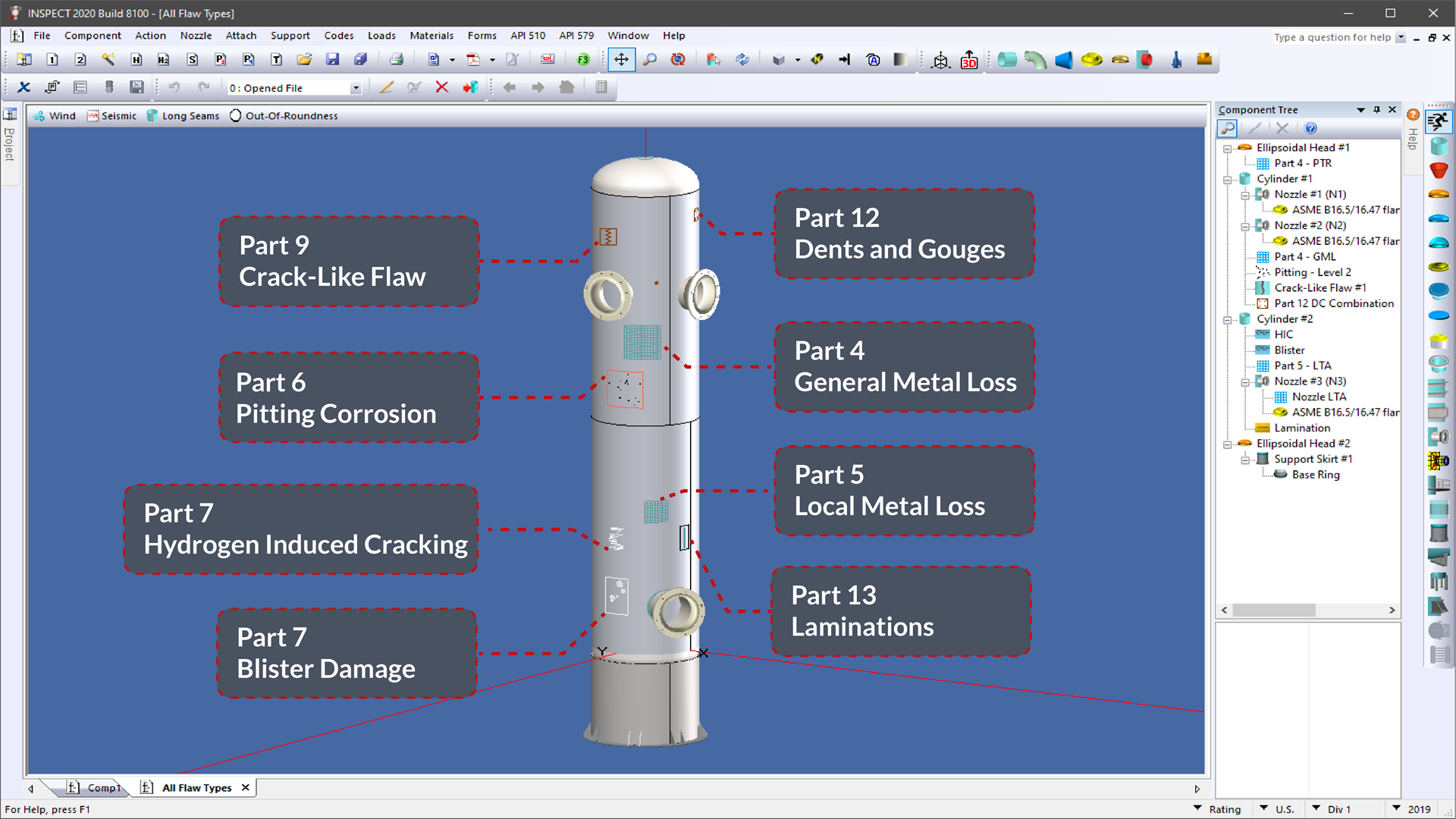 All API 579-1 flaw types are shown on the 3D model in INSPECT (RAGAGEP)
