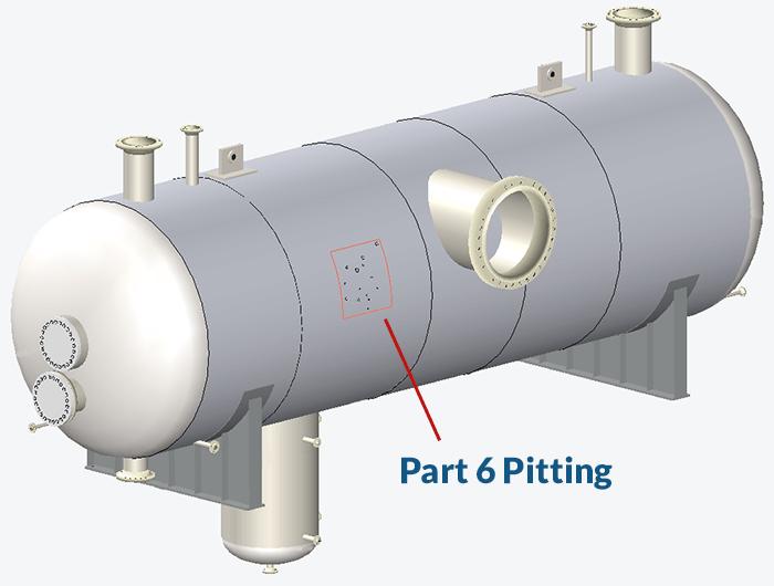 Una evaluación de picaduras de la Parte 6 mostrada en un modelo 3D de INSPECT