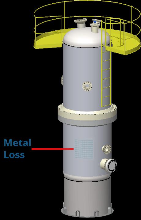 Una pérdida local de metal API 579-1 mostrada en un modelo de buque INSPECT 3D