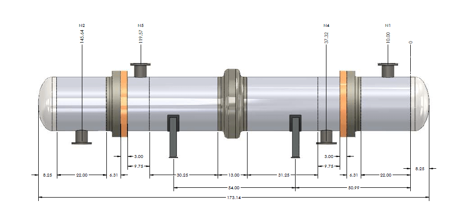 Heat Exchanger drawing imported using the Codeware Interface add-on