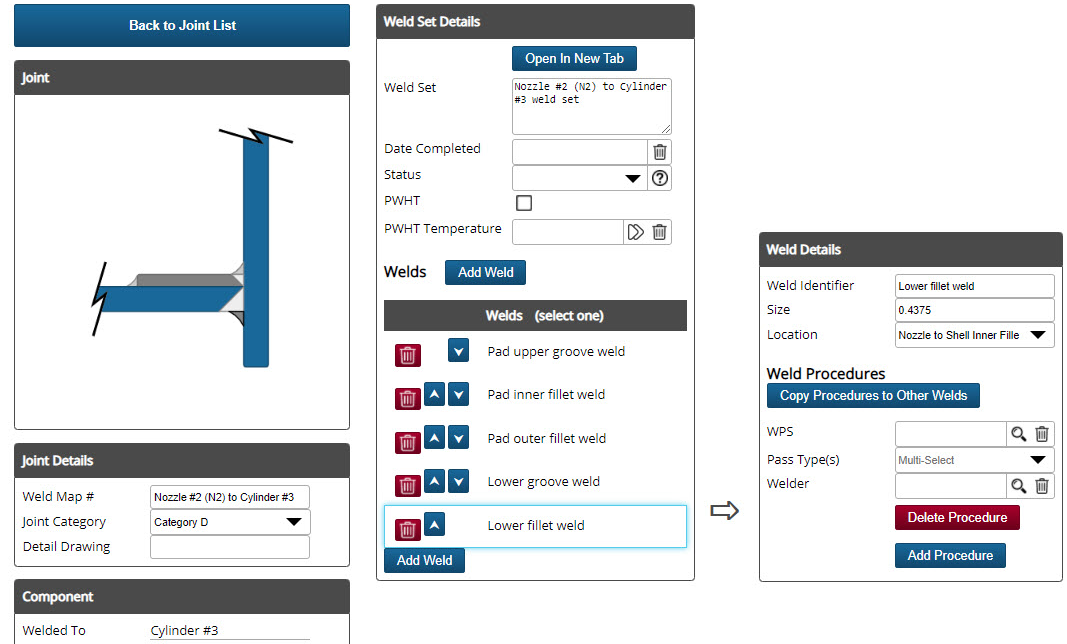 Shopfloor features interactive graphics. Nozzle weld details can be accessed by clicking on the nozzle weld sketch.