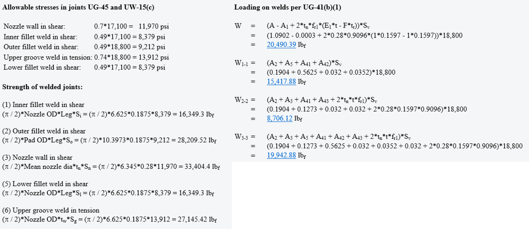 An Excerpt From a COMPRESS Nozzle Calculation Report Showing UG-45 and UG-41