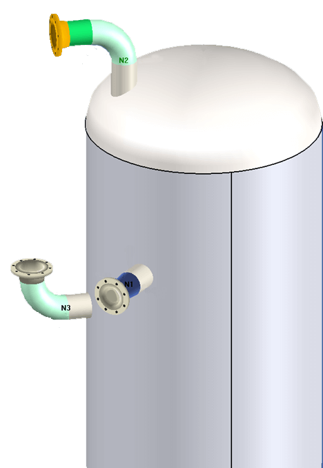 Nozzles designed in COMPRESS with pipe elbows and flanged connections