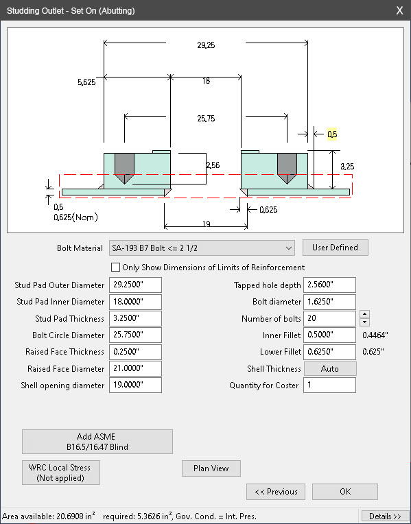 Nozzle Studding Outlet Dialog in COMPRESS