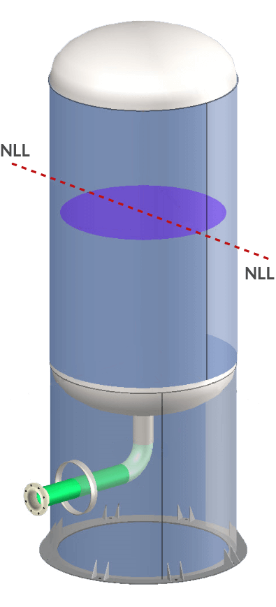 Changing the Normal Operating Liquid Level (NLL) will cause COMPRESS to update the static head applied to all affected vessel components including nozzles.