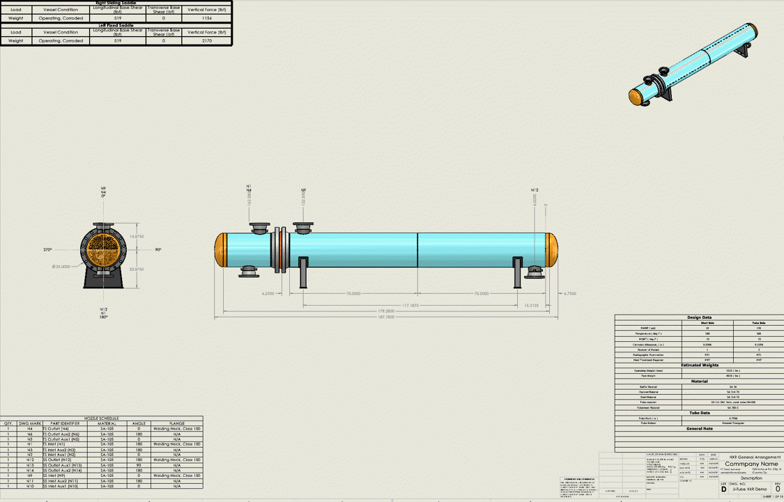 Heat Exchanger Custom Template in SOLIDWORKS Created by the Codeware Interface