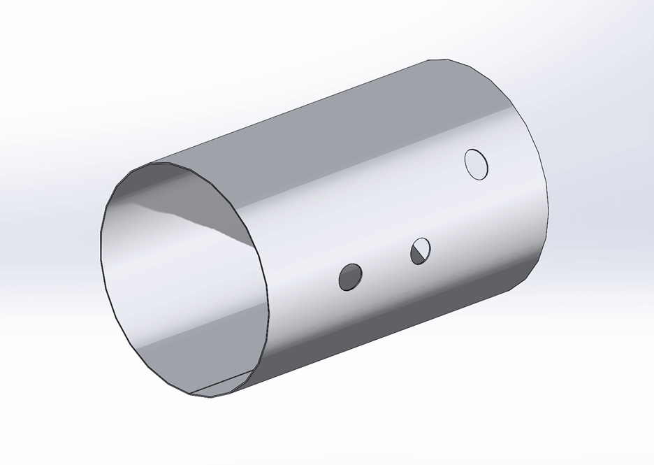 A CWI cylindrical shell rolled up using the SOLIDWORKS Sheet Metal function