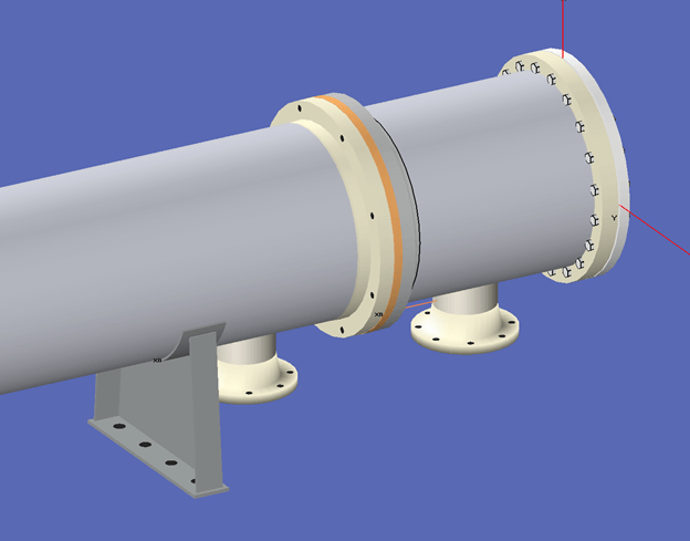 A heat exchanger in COMPRESS displaying flange pairs