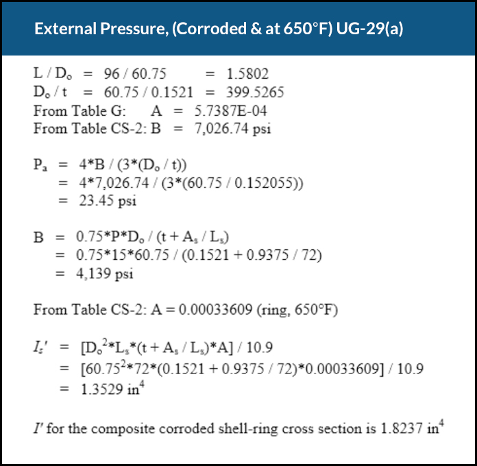 A COMPRESS external pressure design report showing UG-29 stiffener ring calculations