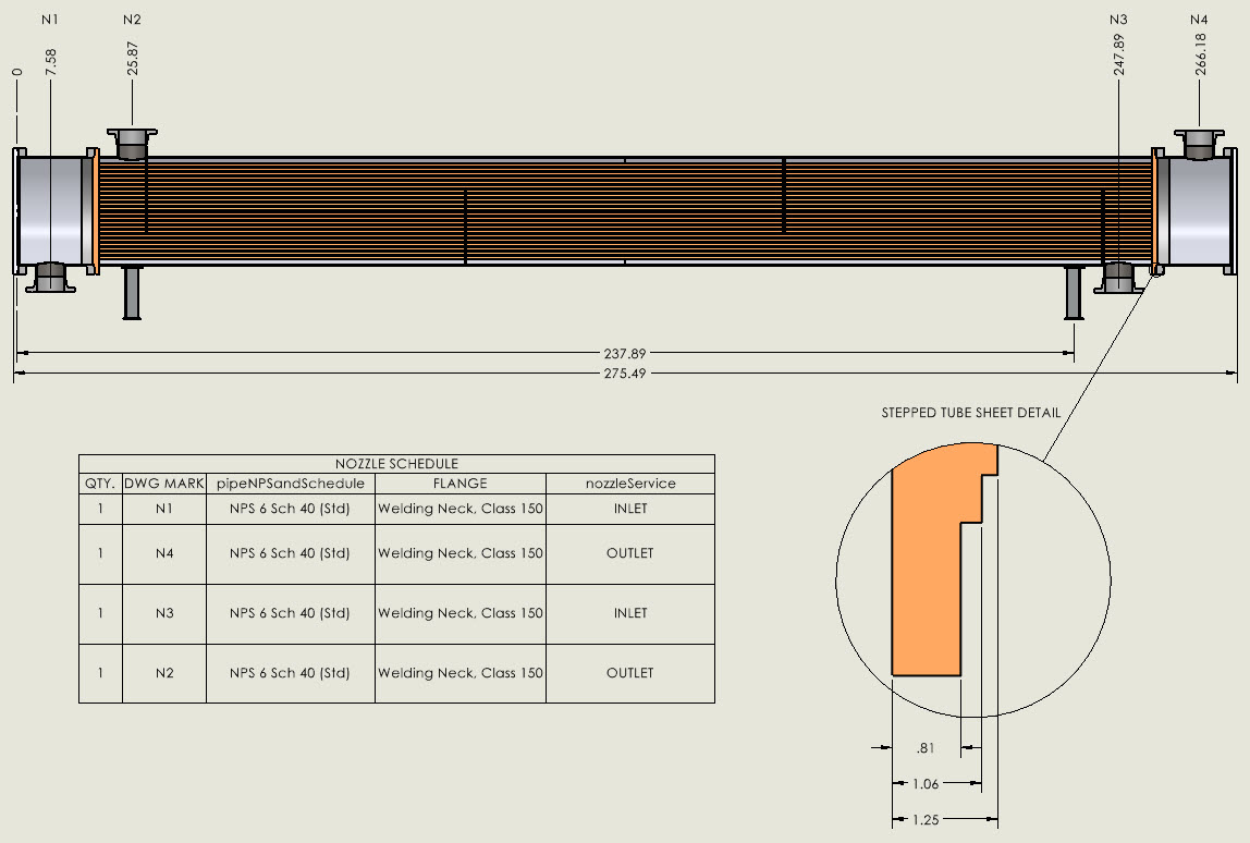 Stepped Tubesheet Detail Drawing Created by the CWI From a COMPRESS Heat Exchanger Design