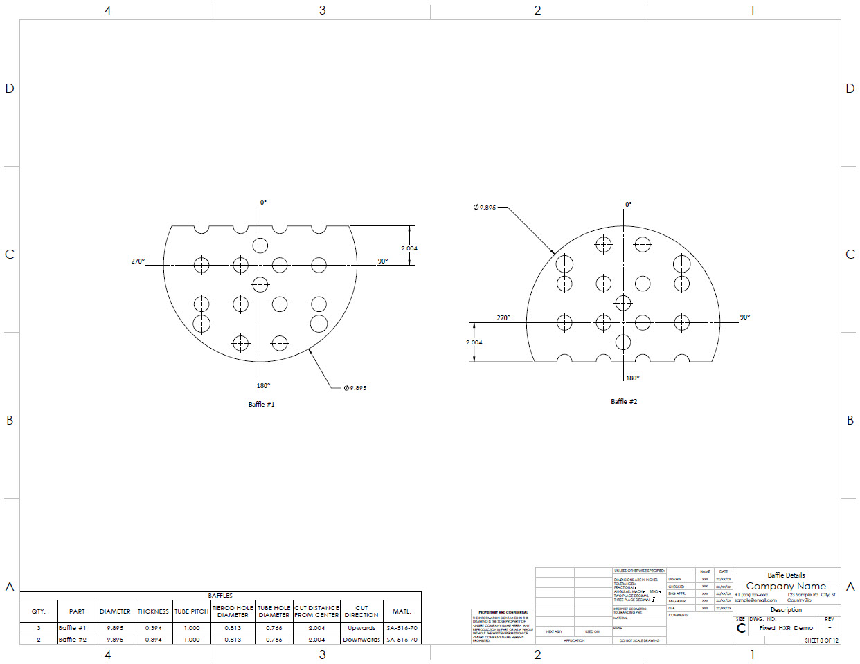 Baffle detail drawing generated by the Codeware Interface.
