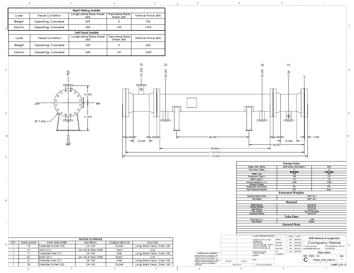 Heat Exchanger general arrangement drawings are generated automatically by the Codeware Interface.