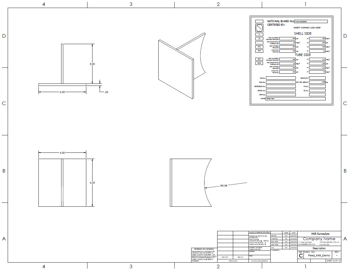 Nameplate and nameplate bracket drawing generated by Codeware Interface, with equipment conditions.