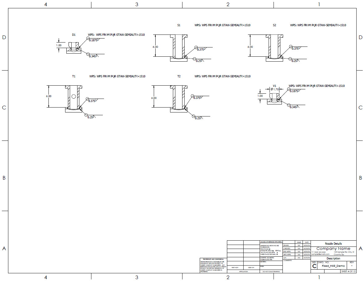 Nozzle detailed drawings generated by the Codeware Interface automatically. Including Welding Process Specifications for those utilizing Shopfloor.