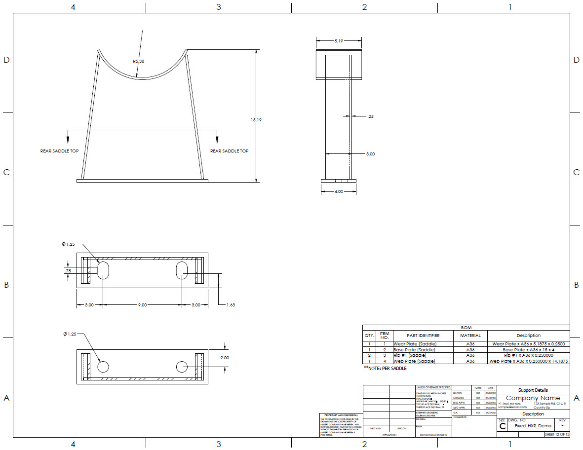 Support drawing generated by the Codeware Interface, with section view and Bill of Materials.
