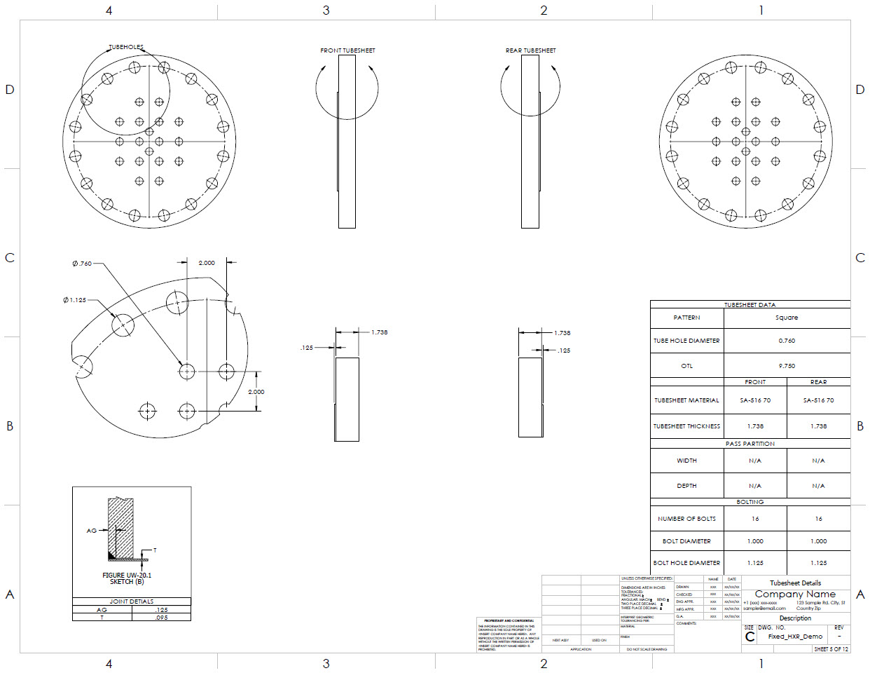 Tubesheet detail drawings are generated by the Codeware Interface. Including a block library for UHX Figures UW20.1 and 11.3-1 Tube-To-Tubesheet Joints.
